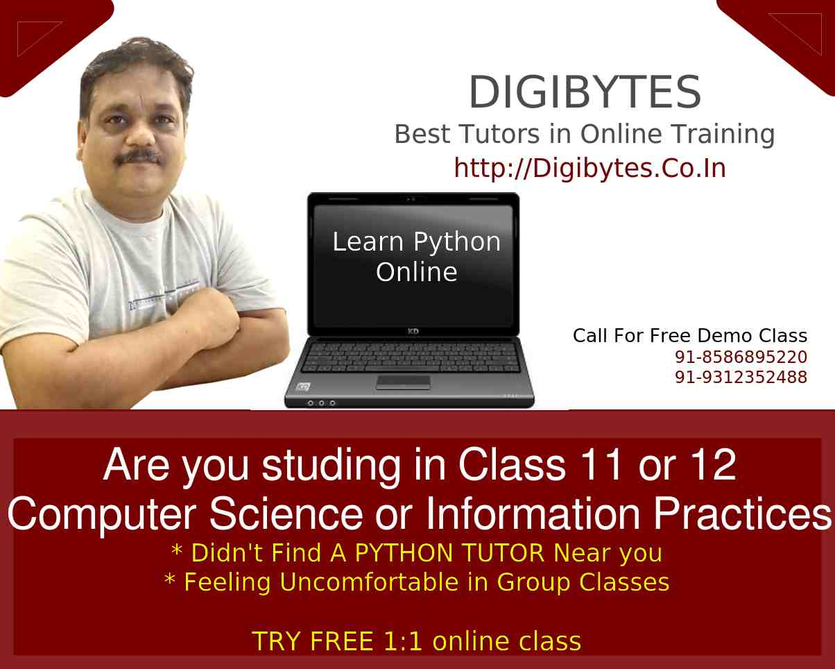 Free online Python demo class for Students of class 11 and 12 computer science and information practice , IP